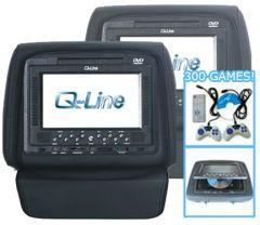 Q-Line hoofdsteun met Sony DVD speler, draadloze gamepads en 300 games. Set van 2 stuks, zwart.